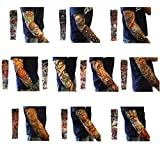 Akstore 10PCS Set Arts Fake Temporary Tattoo Arm Sunscreen Sleeves Designs Tiger, Crown Heart, Skull, Tribal and Etc