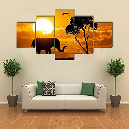 GFHFG Wooden Board 5 Panel Modern Home Silhouette of Elephant Decorative Painting Canvas Wall Art for Living Room Bedroom Bathroom Stretched and Framed Ready to Hang(60X32 Inch)