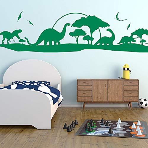 zhuziji Dinosaur Skyline Wall Stickers, Decoración de Dormitorio de guardería Infantil, Vinilos Decorativos de paisaje360x84cm
