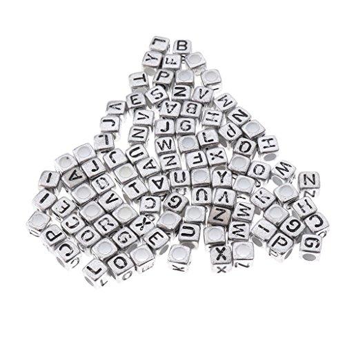 kowaku 100x Alfabetos de Acrílico Metálico Surtidos Letra Pony Cube Beads - Plata, Individual