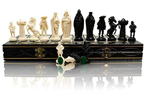 Scacchi in legno serie MEDIEVAL bianco e nero 40x40 cm e pezzi di plastica