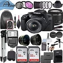Canon EOS 2000D / Rebel T7 Digital DSLR Camera 24.1MP CMOS Sensor with 18-55mm Lens + 2 Pack SanDisk 32GB Memory Card + Backpack + Tripod + Slave Flash + A-Cell Accessory Bundle (Black)
