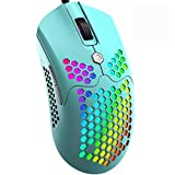 Mamba Snake M5 Gaming Mouse with 65G Lightweight Honeycomb Shell,Ultralight Ultraweave Cable,26 RGB Backlit Lamp Effect,Pixart 3325 12000 DPI Optical Sensor for PC Gaming(Macaron Green)