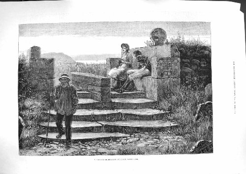 Old-print vecchia stampa antica 1881Cornish Churchyard St. Levan Land' s End artistica
