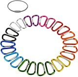 2' Aluminum D Ring Carabiners Clip D Shape Spring Loaded Gate Small Keychain Carabiner Clip Set for Outdoor Camping Mini Lock Snap Hooks Spring Link Key Chain Durable Improved 24 PCS (Assorted)