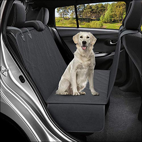 Havenfly Funda de Asiento de Coche para Banco Animal Impermeable para Perro Compatible con Cinturón de Seguridad Central (Black)