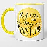 Taza de café amarilla soleada - ¡Usted es mi sol! Motivacional, Inspirador, Gracias, Agradecimiento. Regalo de taza de té brillante para amigos, chicos, Bestie, BFF. Mujer, Hombre, Amante 11oz