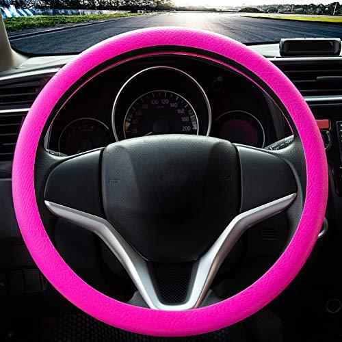 Coprivolante elegante in morbido silicone antiscivolo, decorazione per il volante dell'auto (Rosa)