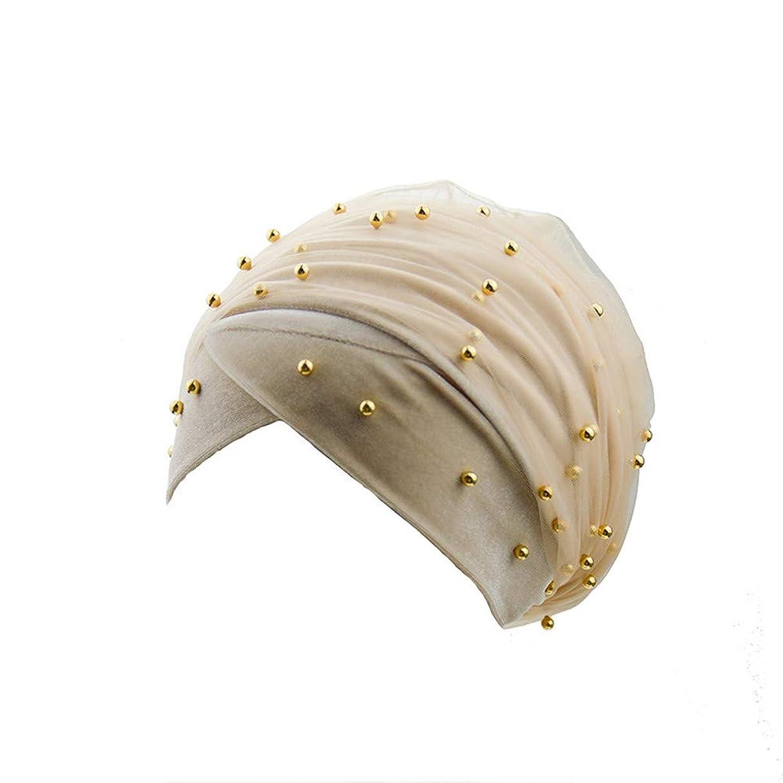 Sunshinehomely Elegant Women Muslim Women Velvet Pearls Tube Turban Cap Mesh Wrap Headscarf Long Tail Hat