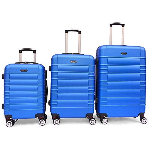 SHAIK SerieCLASSIC JFK Design Hartschalen Trolley, Koffer, Reisekoffer 4 Doppelrollen Zwillingsrollen, Zahlenschloss (Set, Himmelblau)