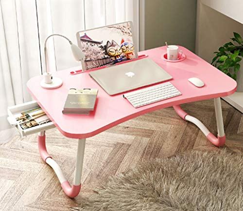 Abvenc Foldable Laptop Table Lapdesk, Large Bed Tray Multifunction Laptop Desk with Storage Drawer, Portable Mini Picnic Desk,Notebook Stand Read Holder for Sofa Couch Floor (Pink B)