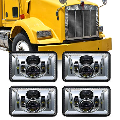 XPCTD Replacement for 4 PCS DOT Approved Rectangular 4x6 inch LED Headlights Kenworth T800 T600 Peterbilt 379 Feightliner Ford Probe Oldsmobile Cutlass Replacement H4651 H4652 H4656 H4666 H6545 Chrome
