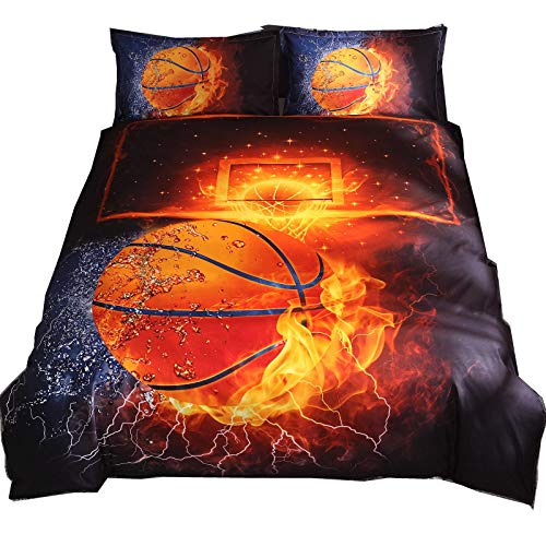 Stillshine. 2/3 Piece Duvet And Pillowcase Bed Set 3D Basketball Print Bed Set Single Double King Bed (Colorful1,220x240 cm)
