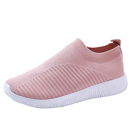 YWLINK Damen Socken Schuhe Outdoor Schuhe Freizeit Slip On Bequeme Sohlen Sports Licht Atmungsaktiv Mesh Sneakers Laufschuhe Turnschuhe Fitnessschuhe Bequeme Schuhe(Rosa,35 EU)