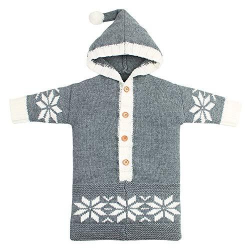 KUKICAT Sac De Couchage Tricot Drap De Laine Couvertures Envelopper Le Bébé Chaud Flocon De Neige Couleur Pure (Gris)