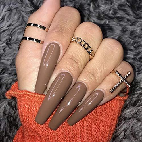 Brishow Sarg Künstliche Nägel lange falsche Nägel braune gefälschte Nägel Ballerina Acryl Drücken Sie auf die Nägel Full Cover 24 Stück für Frauen und Mädchen