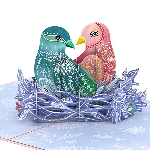 Lovepop Love Birds Pop Up Card - 3D Card, Greeting Card, Valentines Day Card, Anniversary Pop Up Card, Romance Card, Card for Wife