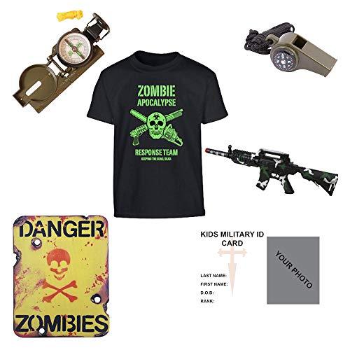 Kinder Pack Z1Zombie Apocalypse Survival Kit T-Shirt Kompass Spielzeug Gun Whistle Schild–freie Kontakt links Kinder Army/Military ID Card.–MTP