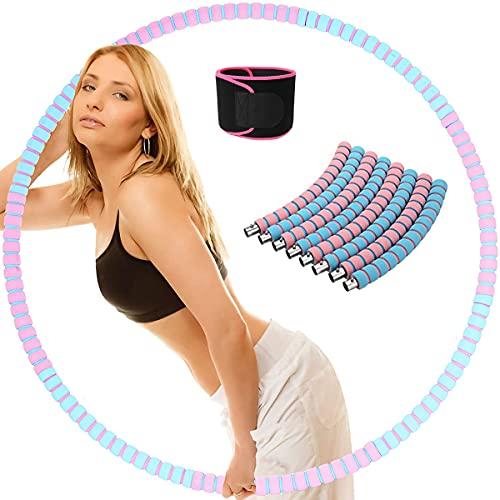 MOZX Hula Hoop Fitness, 6 Secciones Professional Hula Hoop con Cinturón De Fitness, Núcleo Interior Acero Inoxidable Y Espuma Doble-Capa Engrosada, Hula Hoop para Adultos Reducción De Peso Y Masaje