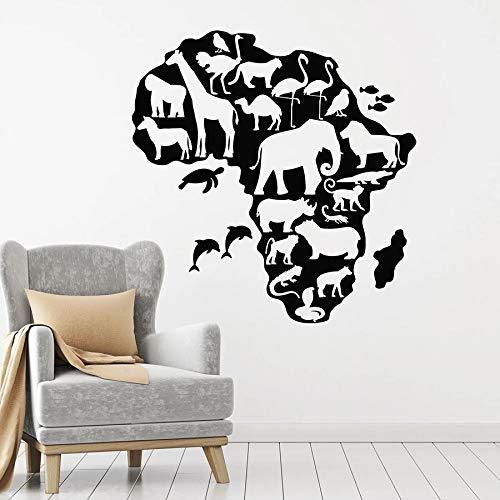 Tianpengyuanshuai Wild dierlijke muurstickers Afrika continent kaart vinyl raam stickers slaapkamer kinderen kamer huisdecoratie muurschildering