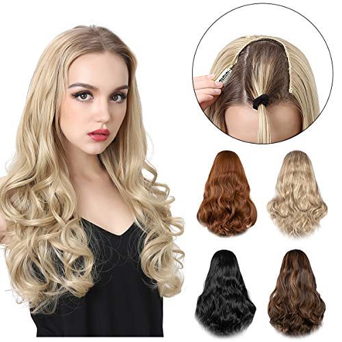 SARLA Clip in Blonde Hair Extensions Long Curly Wavy Full Head U Part Wig 24 Inch Synthetic Hair Pieces for Women High Temperature Fiber UH17&27/613