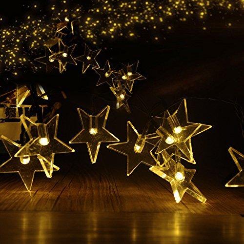 ParaCity Lampes solaires d'extérieur 4,9 m 20 LED Lampes de vacances de Noël Guirlande de jardin étanche Lumières solaires Étoile Blanc chaud