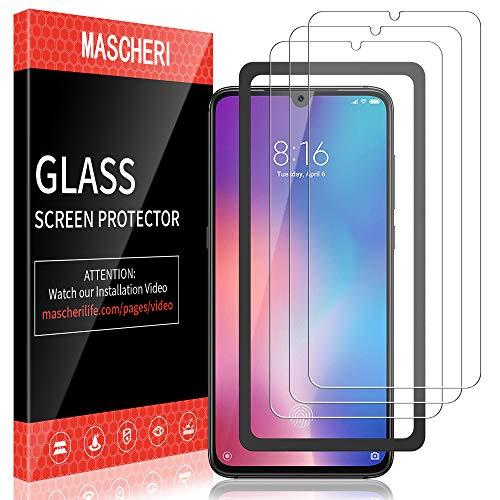 MASCHERI Schutzfolie für Xiaomi Mi 9 SE (6.0 Zoll) Panzerglas, [3 Pack] [Ausgestattet mit einem Einbaurahmen] Bildschirmschutzfolie Panzerfolie Bildschirmschutz Panzerglasfolie Glas Folie