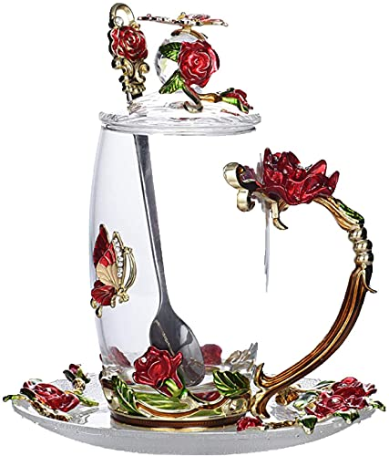 Taza de café con cuchara, tapa y plato, taza de té de cristal transparente, hecha a mano, con forma de mariposa esmaltada, adecuada como regalo de cumpleaños para amigos en su día de boda (rojo)