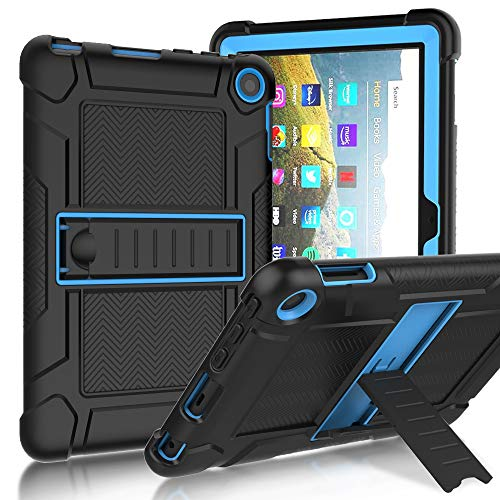 SINSO Case for All-New Amazon Fire HD 8/ Fire HD 8 Plus (10th generation,2020 release), Shockproof Heavy Duty Rugged Full-Body Protective Case with Kickstand for Fire HD 8 Latest Model, Black and Blue