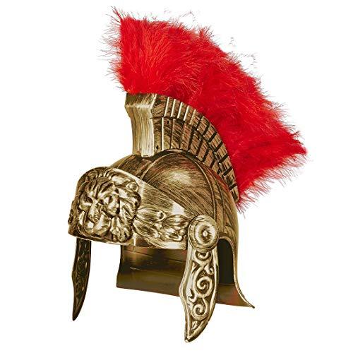 Amakando Casco de Gladiador Romano / Dorado-Rojo / Casco de Soldado Romano Maximus / Insuperable para Fiestas de Disfraces y Fiestas temáticas