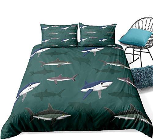 Aolomp Ensemble de literie 3D Textiles de Maison 2/3 pièces Motif de Requin Animal océanique Ensemble de Housse de Couette et taie d'oreiller 220 cm * 240 cm