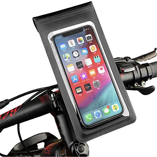 Bike Frame Bag [Upgraded] Waterproof Bike & Motorbike Phone Mount with Sensitive TPU Touch Screen, Bike Phone Holder Handlebar Bag with 360° Rotation for iPhone Samsung and Smartphone up to 6.5 Inch