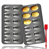2 Pack Madeleine Pan, OAMCEG 12 Cavity Heavy Duty Shell Shape Baking Mold Nonstick Cookie/Cake/Scone Pan Whoopie Pie Pan with a Silicone Brush for Oven Baking