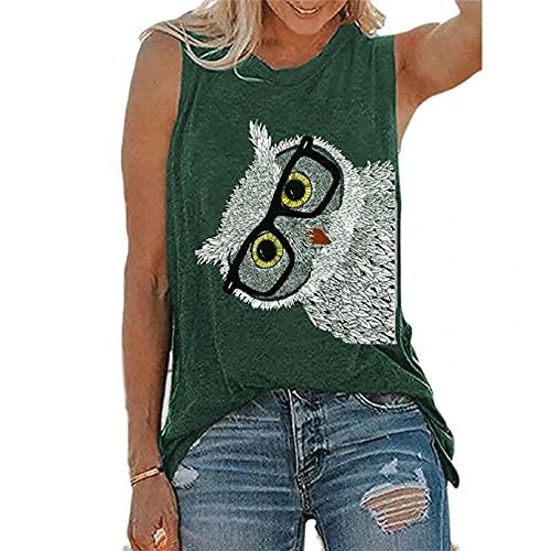 PKYGXZ Camiseta sin Mangas con Chaleco para Mujer, Blusa con Estampado de patr n Bonito, Jersey con Cuello Redondo, Camisetas Casuales, Camisa de Fondo, Camisas de Streetwear