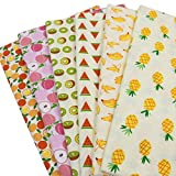 BYY 6 Unidades 40 cm * 50 cm Tela de algodón Impresa Fruta para Patchwork Acolchado, Costura Tissu Hecho a Mano Material de Costura