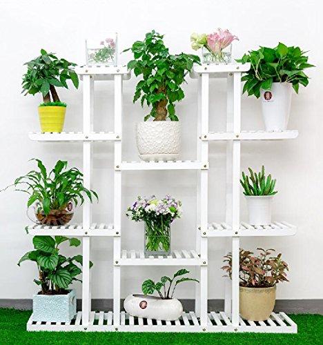 Cuisinière en fleurs Salon en bois massif Balcon Pot en pot Ensemble à plusieurs étages Plante intérieure Fleur Cadre Blanc 25 * 120 * 120cm (Couleur : No wheels)