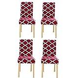 YoungYuan Fundas de sillas Comedor Fundas sillas de Comedor Fundas para sillas de Comedor Silla de Comedor abarca Comedor Cubierta de la Silla Universal Silla Set of 4,Red