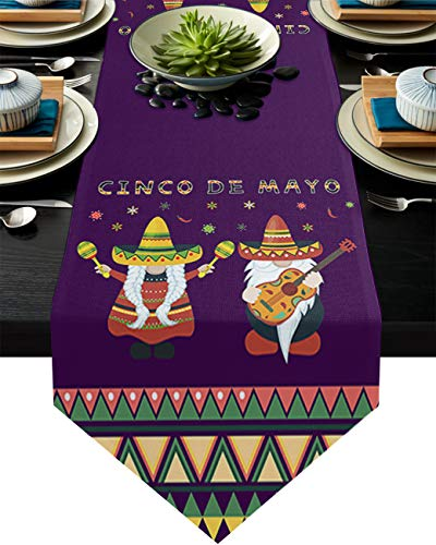 Linen Burlap Table Runner Dresser Scarves Mexico May 5Th Festival Cinco De Mayo Gnome Hat Guitar Purple Home Dining Table Decor Table Runner Mat for Farmhouse, Wedding, Party, BBQ- 16 x 72 Inch
