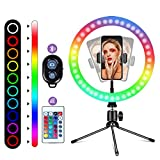 10' RGB Selfie Ring Light, 16 Colors LED Ring Light with Tripod Stand/Phone Holder/Camera Remote Shutter Best 10 Brightness Levels Dimmable LED Ring Light for Makeup,YouTube, Photography
