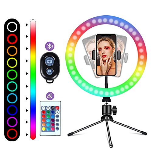 """10"""" RGB Selfie Ring Light, 16 Colors LED Ring Light with Tripod Stand/Phone Holder/Camera Remote Shutter Best 10 Brightness Levels Dimmable LED Ring Light for Makeup,YouTube, Photography"""