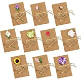 JOHOUSE Dried Flowers Greeting Cards, 50PCS Handmade Greeting Cards Vintage Kraft Blank Note Card Thank Notes for Birthday Party Invitation Card