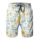 Men's Swim Trunks Board Shorts Beach Pants Surfing Boardshorts,Its A Boy Image with Happy Sun Raccoon In Pyjamas Blue Hats and Pacifier,Fancy Print Hawaiian Shorts Four Size,XX-Large
