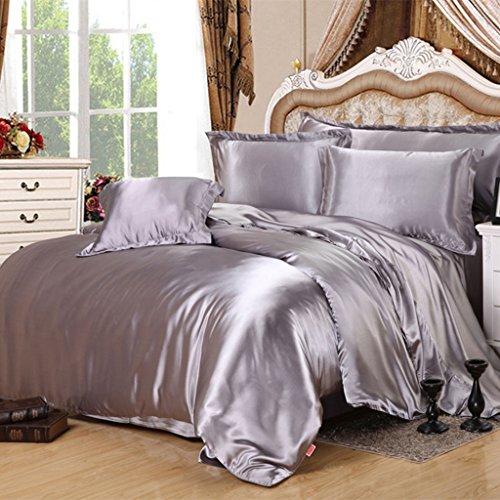 Set de draps de lit, double ressort et été Mulberry Silk Ensemble de lit en couleur solide de 4 pièces - 1.5M / 1.8M / 2.0M Bed ( Couleur : A , taille : 1.5m/5Feet bed )
