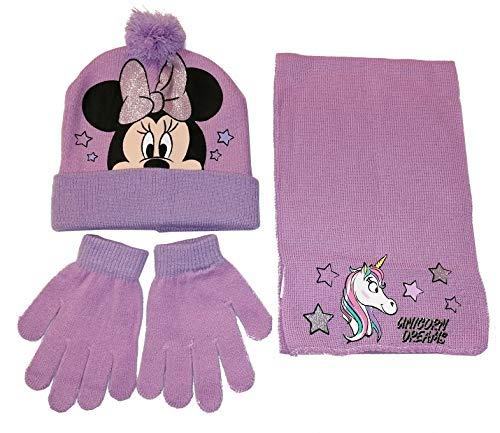 Minnie Mouse Unicorno Set 3pezzi Cappello con Pon Pon Sciarpa Guanti Invernale Bambina Taglia Unica 3-8anni