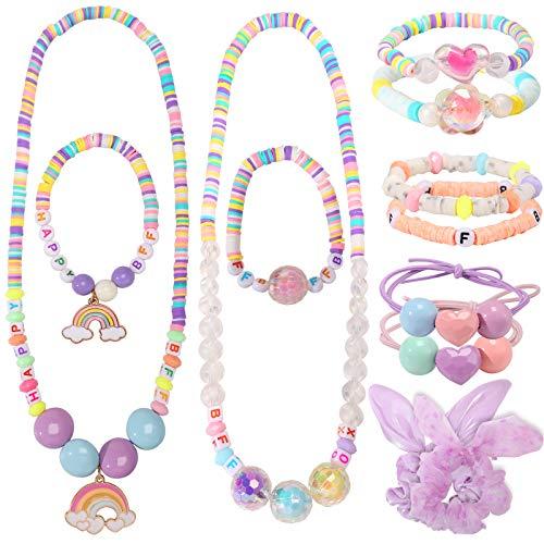PinkSheep BFF Kids Jewelry Sets, BFF Necklace Bracelet Hairband Set for...