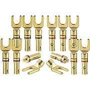 Poppstar 12x High End Kabelschuhe, Gabelstecker für elektrische Verbindung von Lautsprecherkabel, bis 4mm² Kabeldurchmesser, 24k vergoldet