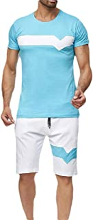 Men's 2 Piece Casual Tracksuit Shirt and Shorts Running Jogging Athletic Sport Set