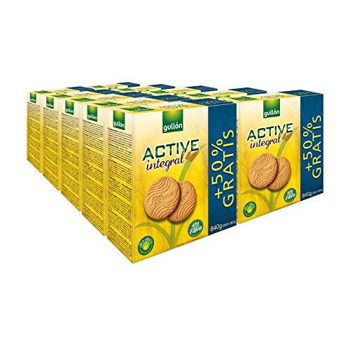 Gullón - Galletas fibra integral Active [Pack de 10 uds: 8,4 kg]