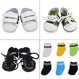 ZITA ELEMENT Zapatos de Muñeca Hecha a Mano - 3 Pares Zapatos y 6 Pares Calcetines para 18 Pulgadas 45-46cm American Girl Boy Muñeca Logan