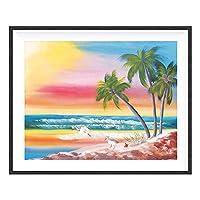 ダイヤモンド絵画海岸ビーチキャンバスダイヤモンド刺繡美しい風景家の装飾40x50cm